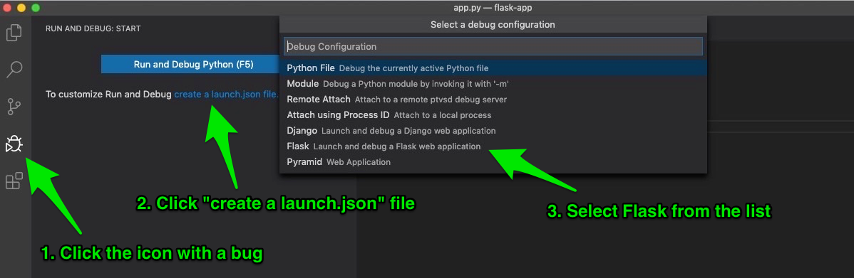 Create launch.json file