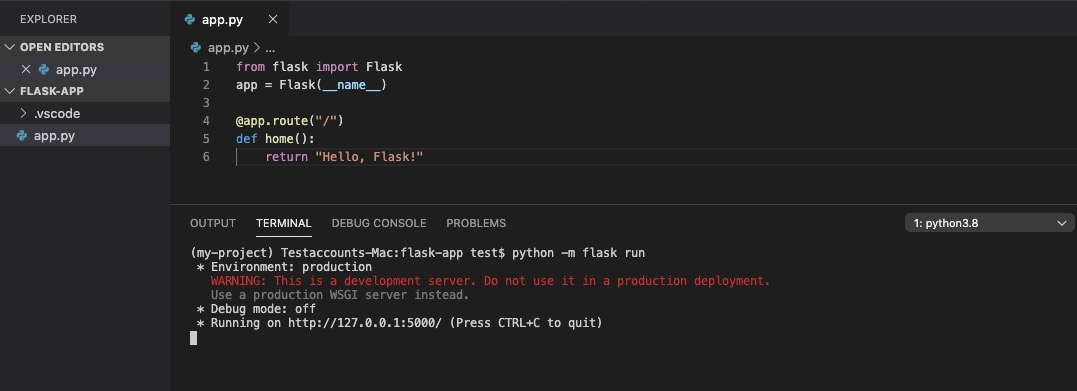 Run Flask in VS Code from a terminal
